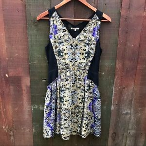 Madwell silk floral abstract printed dress