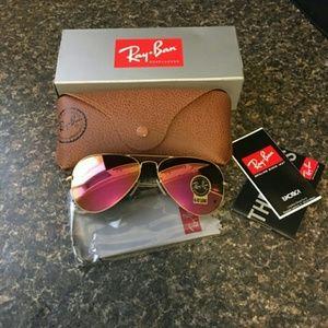 Pink Ray Ban Aviator Sunglasses 58mm NEW
