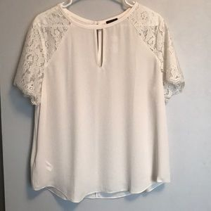 Ann Taylor ivory blouse with lace sleeves