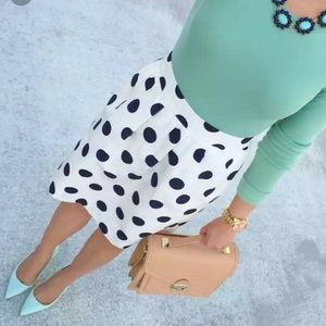 Jcrew polka dot a line skirt