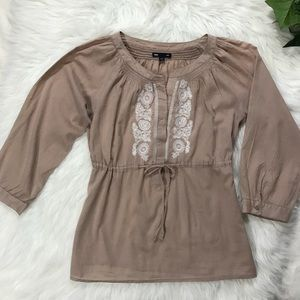 GAP Peasant Top Tan White Embroidery Smocked