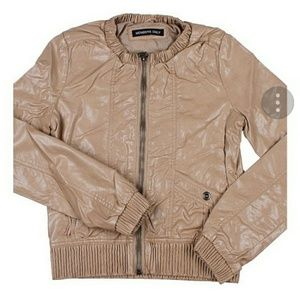 Members Only Tan Faux Leather Bomber Jacket Size M
