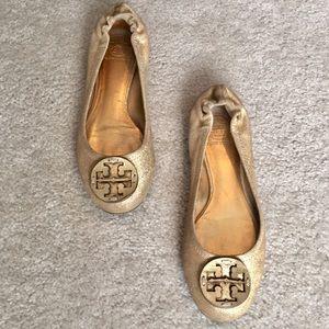Tory Burch Gold Glitter Reva Ballet Flats