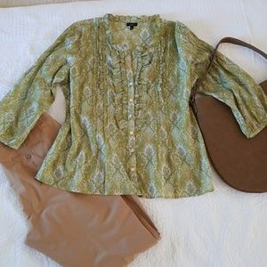 Talbots patterned button front top