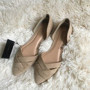 NWT Suede Tan Dorsay flats sz 6.5 Forever 21