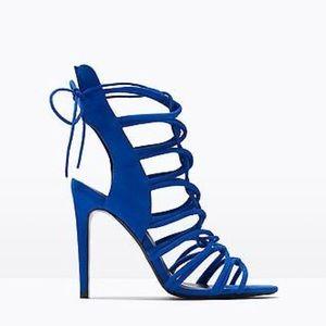 Zara royal blue lace up heels