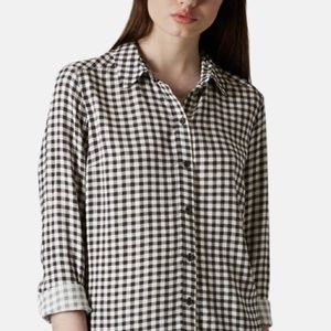 TopShop Gingham Printed Button Up Shirt