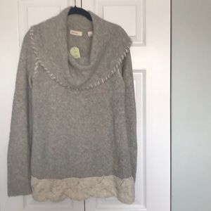 Anthropologie Sleeping on Snow Grey Sweater L