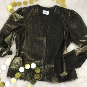 Sheer Black and Gold Metallic Vintage Blazer