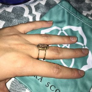Kendra Scott Elyse Ring Gold with Rose Gold Drusy