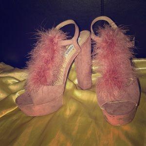 Beautiful Pink Suede Steve Madden Platform Heels.