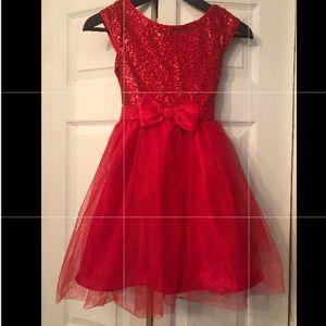 Red Tulles Girls Dress