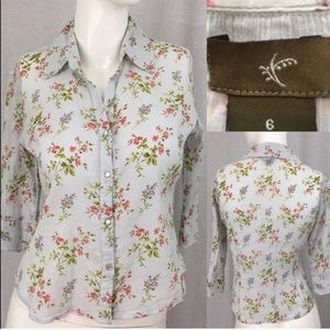 💟Size Small (6) Anthro Fei Floral Button Down Top