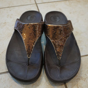 Brown sequin sparkle Astrid Fitflop sandal 7