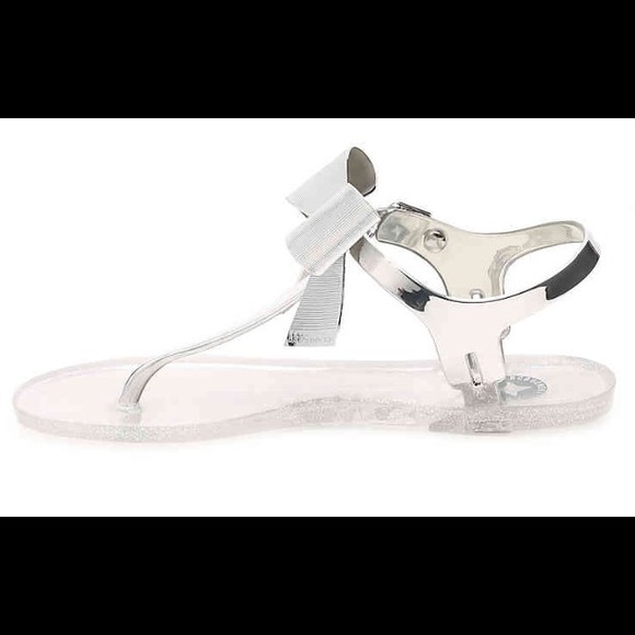 7a6cbaa79d55 BCBG Shoes - BCBG Beena Jelly Sandals silver bow