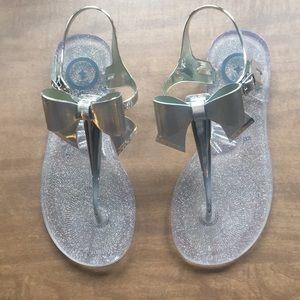 5cbcc73c1564 BCBG Shoes - BCBG Beena Jelly Sandals silver bow