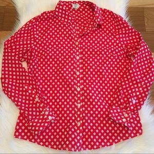 Crown & Ivy Red Patterned Long Sleeve Button Up