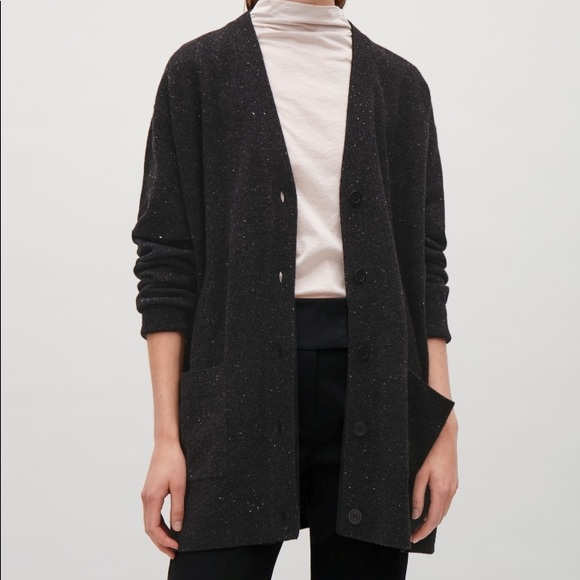 COS Sweaters - COS Speckled Oversized Wool Cardigan in Black 61749cc45