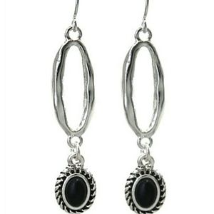 Hammered dangle earrings with black stone.