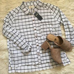 NWT Hollister Black White Button Down Plaid Shirt