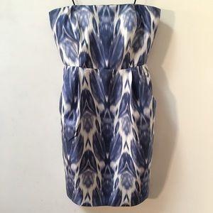 J Crew Silk Ikat Strapless Dress