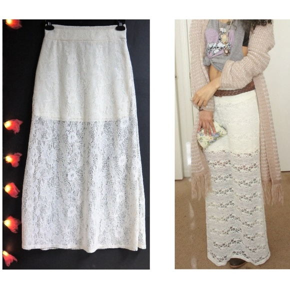 2d718e25b22d Lily White Skirts | Beautiful Lilly White Lace Overlay Maxi Skirt ...