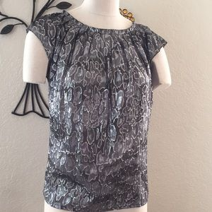 Sheer silver and black top/blouse by Michael Kors