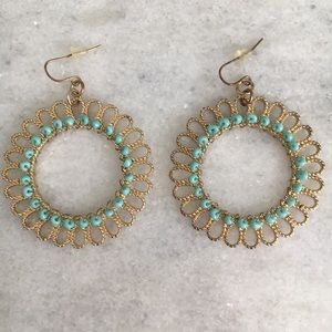 Gold Tone Earrings with Turquoise Bead Accent