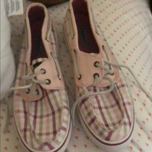 Sperry topsider size 8.5 pink plaid