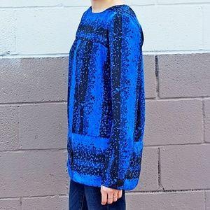 Rich Blue Carol 80s Poly Blouse