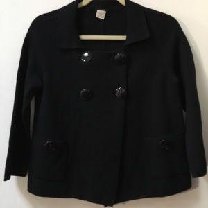 J Crew navy blue wool sweater jacket