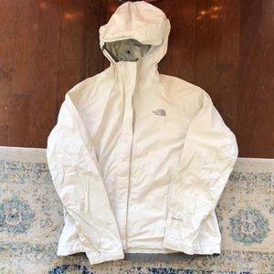 NORTH FACE white rain jacket size M