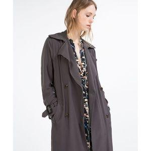 Zara slate gray long trench coat SZ M NWT