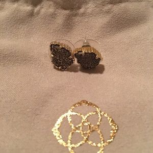 Kendra Scott Gold/ Platinum Drusy Tessa earring