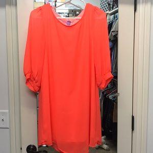 3/4 sleeve Neon Midi Dress