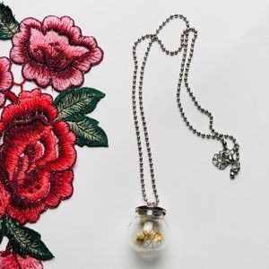 flower jar glass orb necklace
