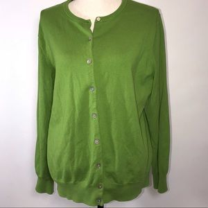 Land's End XL Green Button Front Cardigan