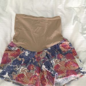 Indigo Blue flower print maternity shorts