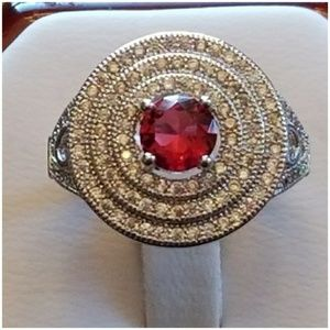 Jewelry - Genuine Ruby & White Sapphires Ring Size 7.25