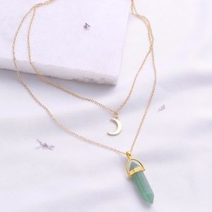 Green stone double necklace