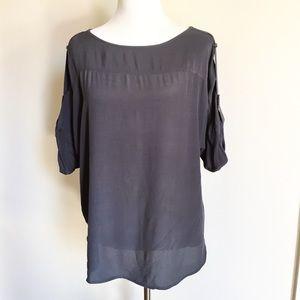 🗝 Loft Charcoal Grey Sheer Top Size S