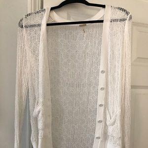 White FP loose knit cardigan