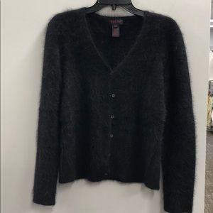 Ralph Lauren cardigan sweater black rabbit fur