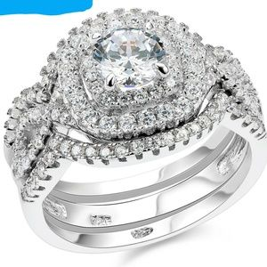Jewelry - NWT 2.1 Cz Round Three Ring Wedding Set Sz.7