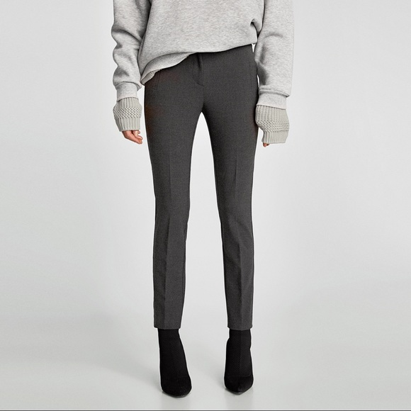 Zara Pants - Zara Grey Jaquard Mid-rise Ankle Trouser XL