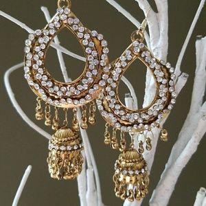 Vintage Bollywood gold tone chandelier earrings