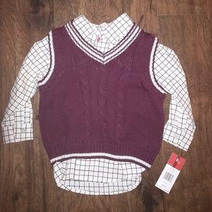 IZOD boys sweater vest w/ button down plaid shirt
