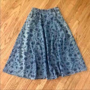 Vintage floral jean maxi skirt