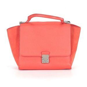 ZARA Orange Leather Suede Large Satchel Purse!