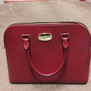 MICHAEL KORS CINDY RED LG DOME SATCHEL LEATHER